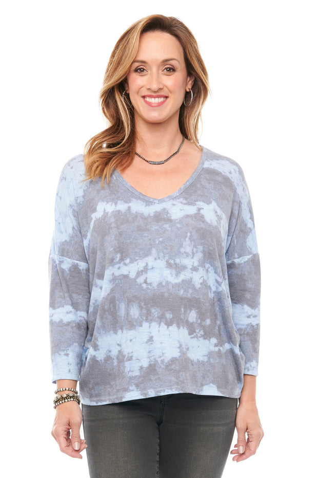 3/4 Sleeve Print Top in Stone Blue