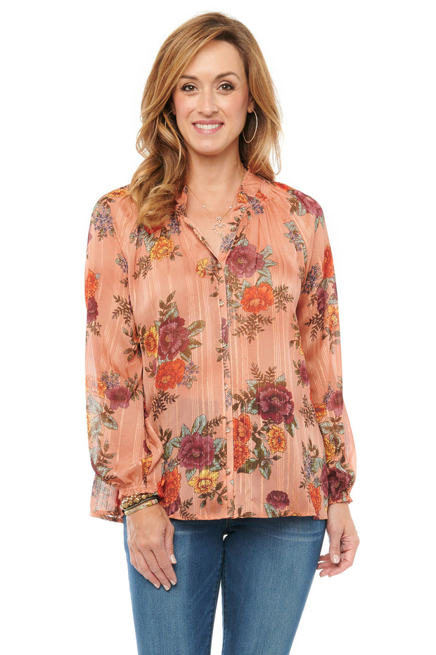 Blouson Sleeve Floral Print Button Down