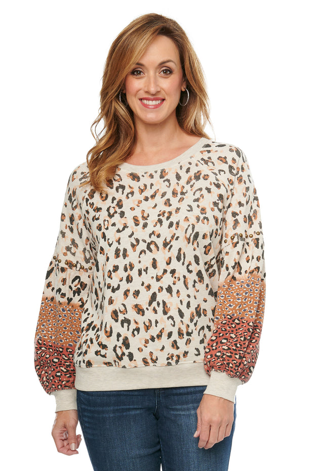 Animal Print Blouson Sleeve Sweatshirt