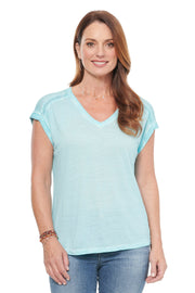 V-neck Tee with Lace Detail in Ocean Mist