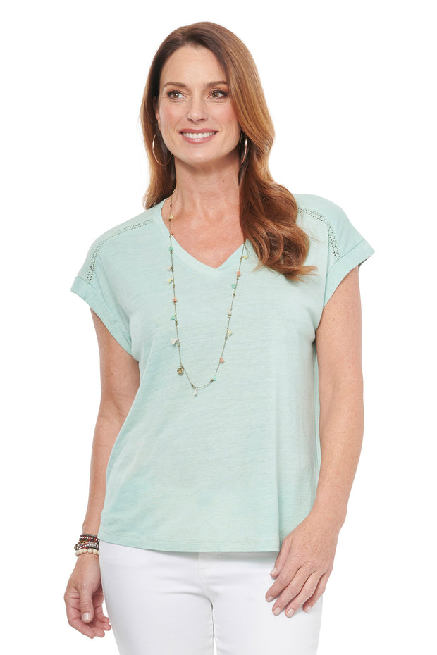 V-neck Tee with Lace Detail in Soothing Sea