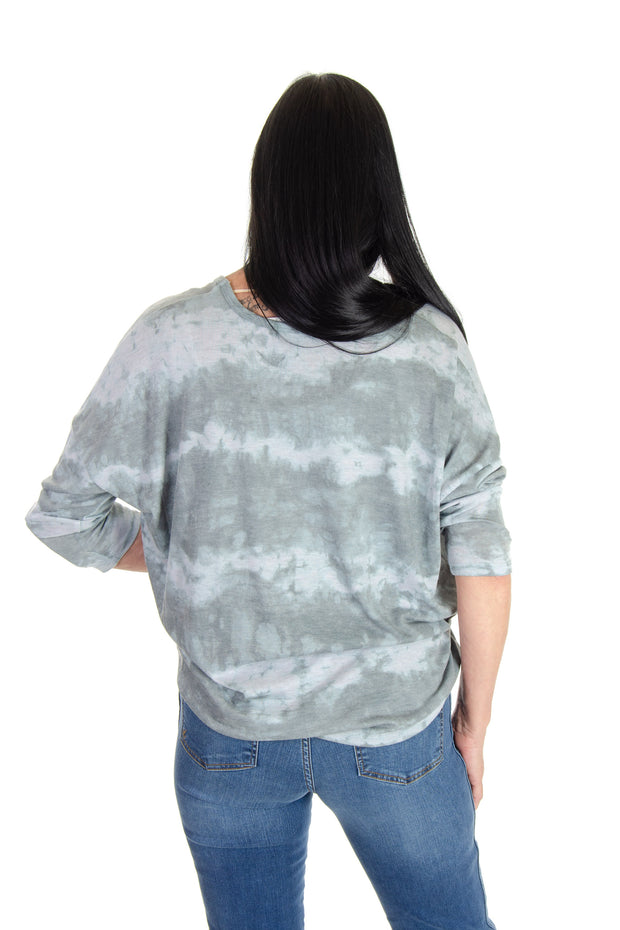 3/4 Sleeve Print Top in Olive Slate