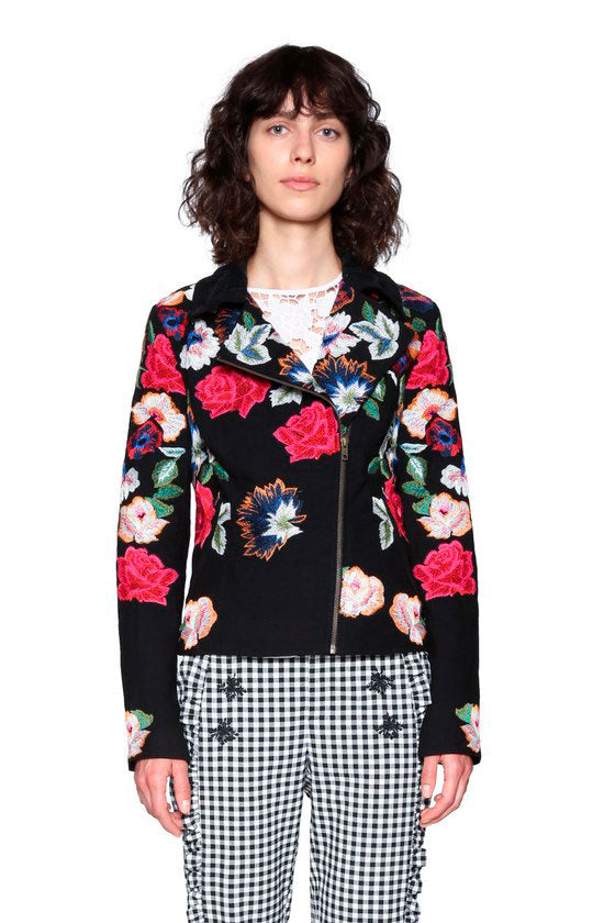 Desigual - Black Jacket with Flowers (18SWEW12)
