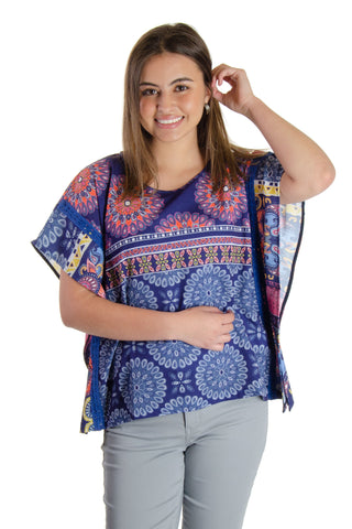 Desigual - Latil Mandala Print Poncho Top in Purple/multi (19SWBW81)