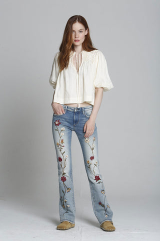 Driftwood - Kelly Bootcut Jeans in Maroon Foliage (P40013A)