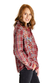 Driftwood - Lana Embroidered Plaid Blouse in Burgundy (H40055)