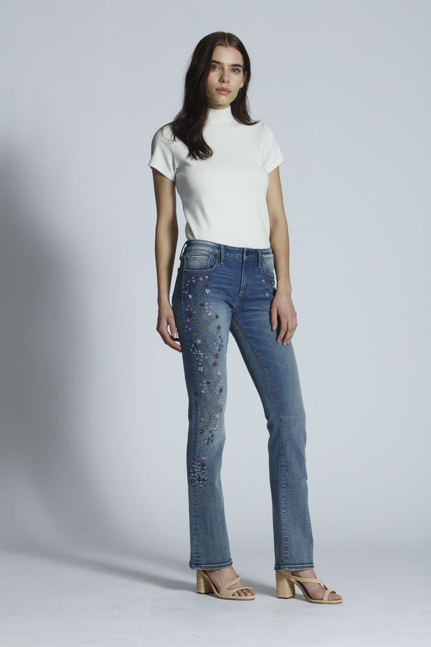 Kelly Embroidered Jeans in Pink Strawberry