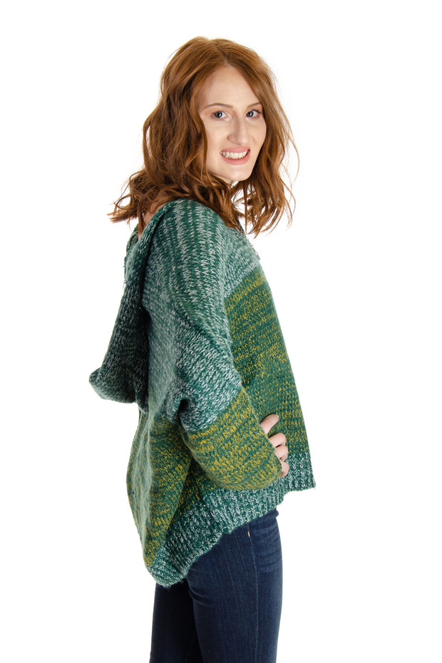 Elan - V-neck Hooded Sweater in Green (SW10225)