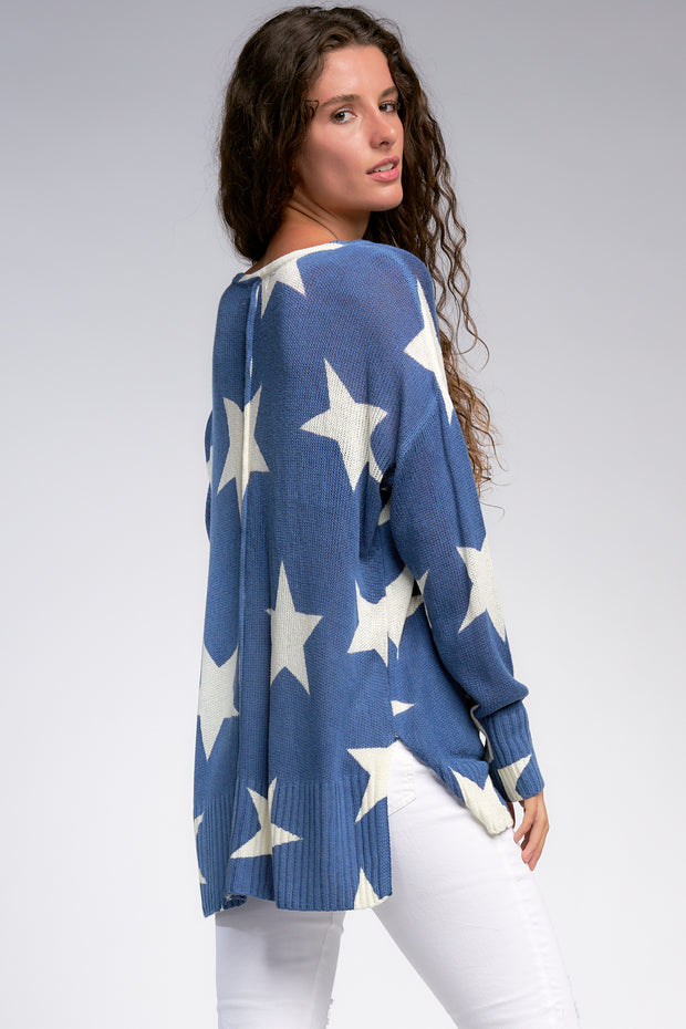 Over-sized Star Sweater in Denim