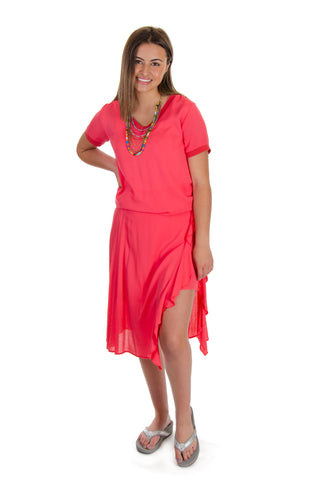 Esqualo - Layered Ruffle Skirt in Coral (HS19-14230)