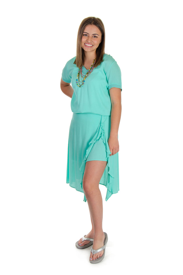 Esqualo - Layered Ruffle Skirt in Mint Green (HS19-14230)