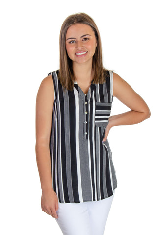 Esqualo - Striped Sleeveless Blouse in Black/white (HS19-14220)