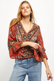 Rosalie Wrap Top in Red Combo