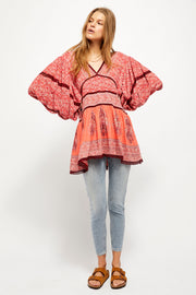 Luna Tunic in Red Combo