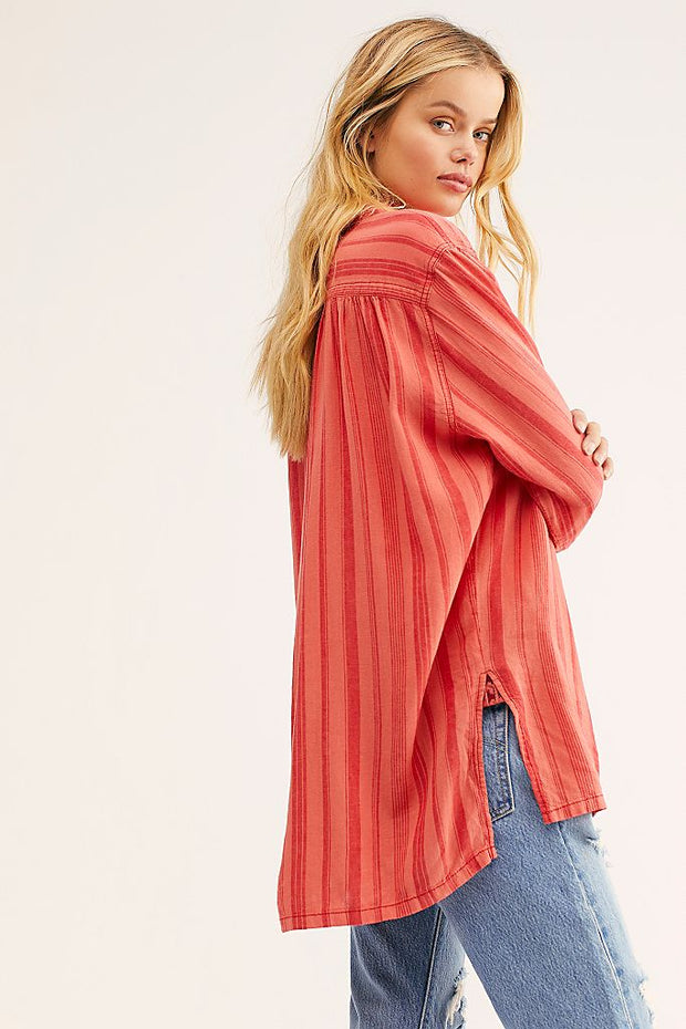Free People - Summer Breeze Stripe Pullover in Coral Combo (OB1103979)