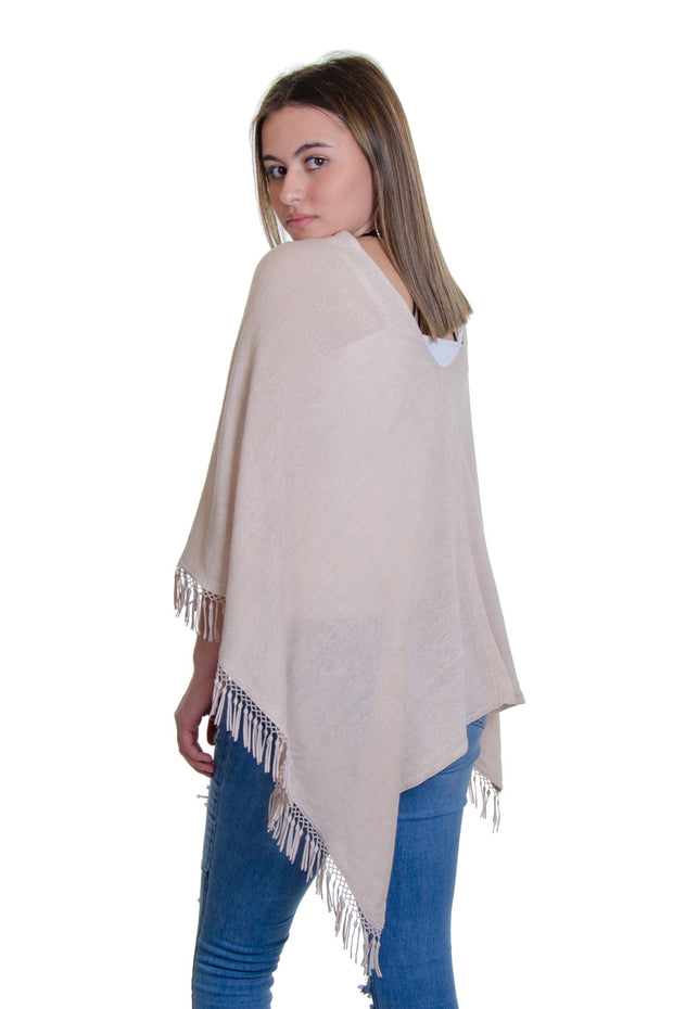 In Cashmere - Linen Topper w/ Fringe Trims in Taupe (LS2-3136)
