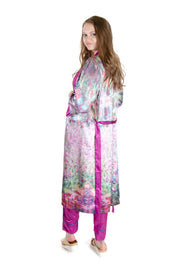 Galleria - Monet's Garden Satin Bathrobe in Purple/multi (41007)
