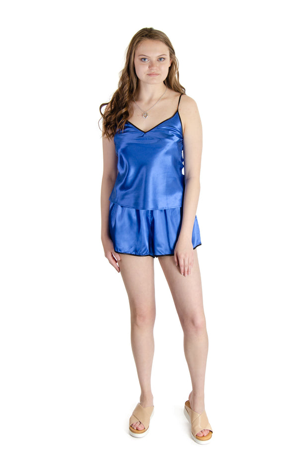 Galleria - Satin Pajama Shorts in Baltic Blue (43000)