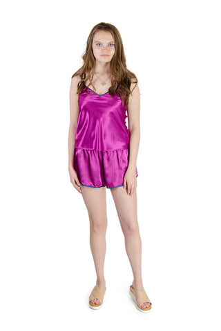 Galleria - Satin Pajama Shorts in Purple (43000)