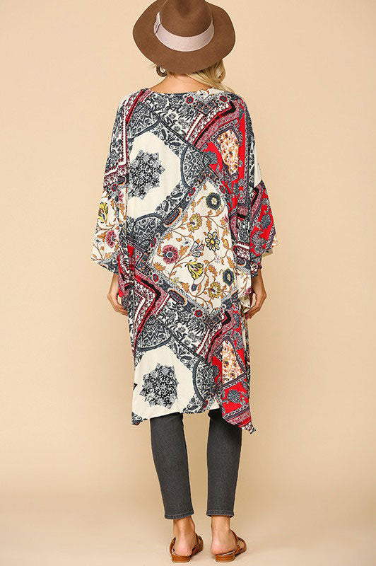 Border Print Ruffle Sleeve Kimono in Grey/red