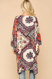 Border Print Ruffle Sleeve Kimono in Plum/orange