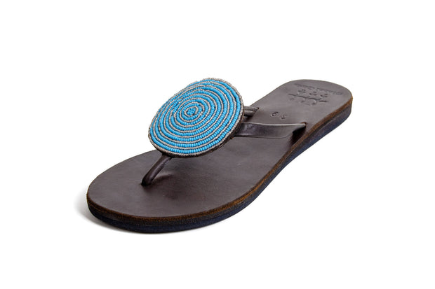 Global Girls - Medallion Thong Sandal in Turquoise/Brown (Turq)