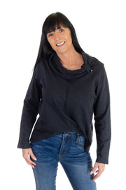Aspen Button Cowl Neck in Black