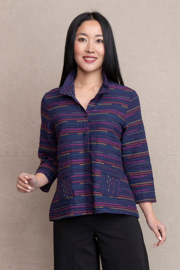 Peruvian Stripe Ruched Collar Jacket