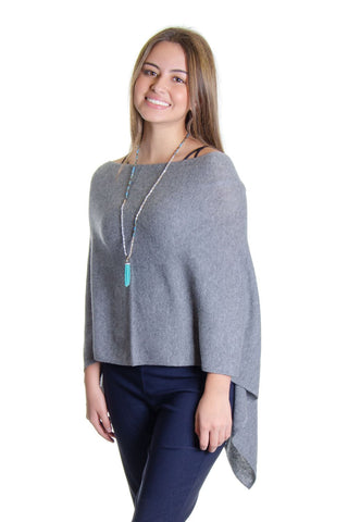 In Cashmere - Cashmere Topper in Heather Grey (LF28838)