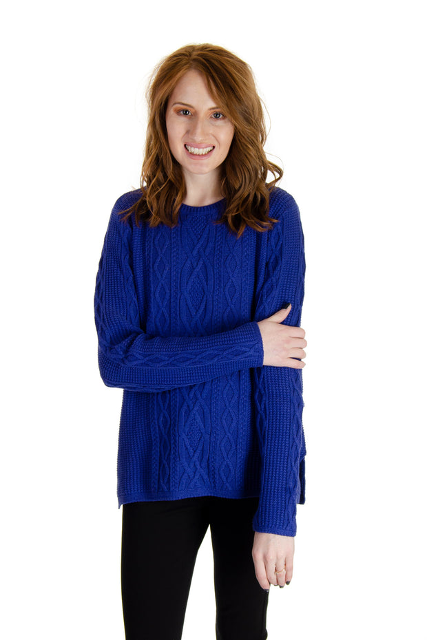 Jeanne Pierre - Crew Neck Fisherman Sweater in Tanzanite Blue (5713F19)