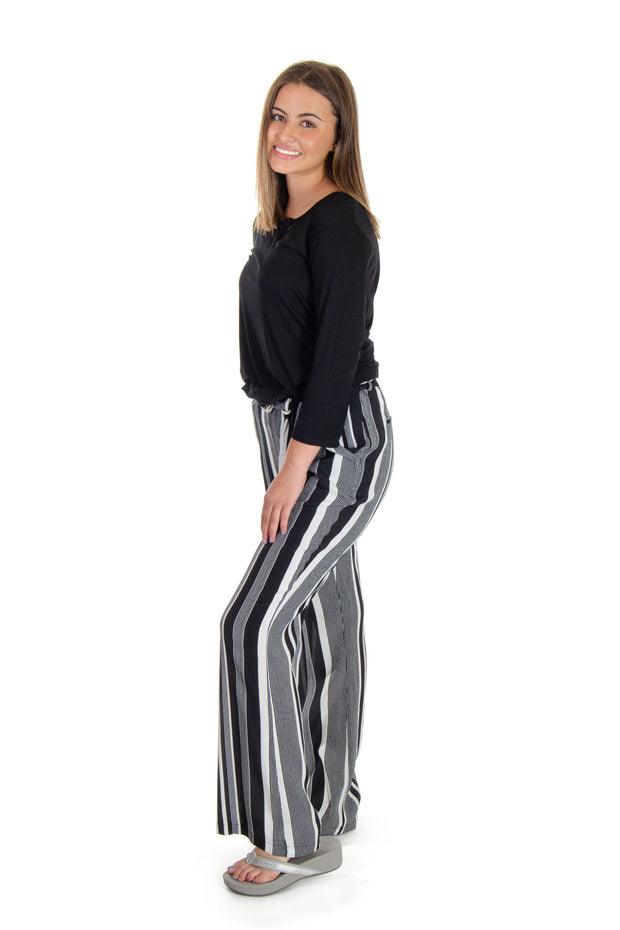 Esqualo - Stripe Pant in Black/white (HS19-14221)