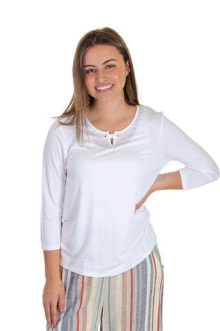Jeanne Pierre - 3/4 Sleeve Top w/ Grommet Detail in White (CSP19-1008)