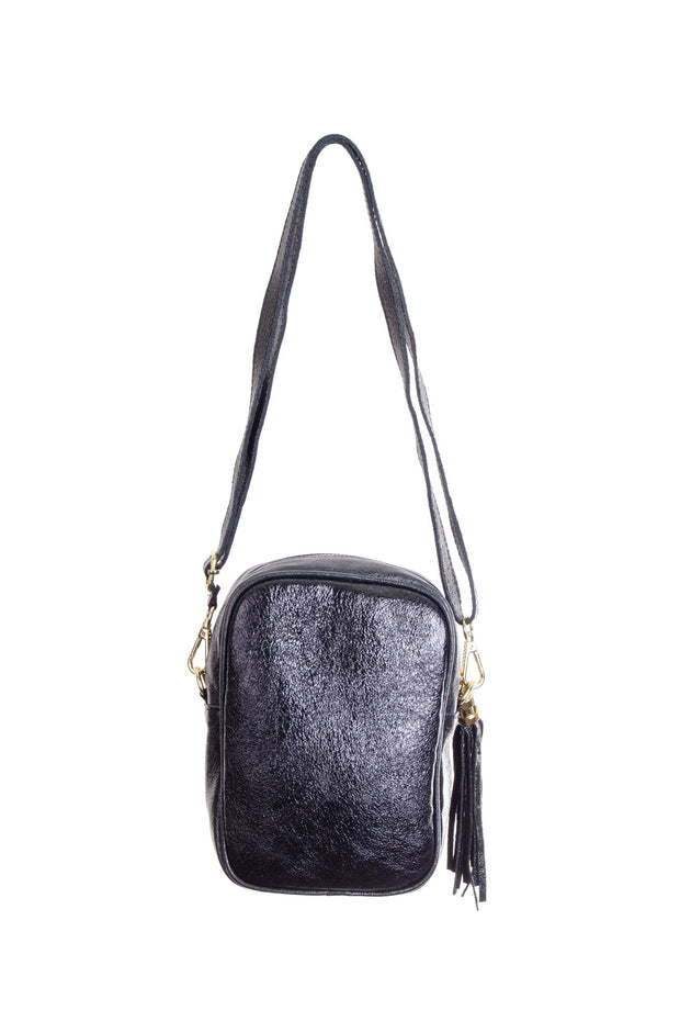 Jijou Capri - Misa Metallic Leather Bag in Black (Misa)