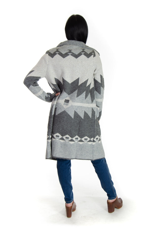 Aztec Sweater Jacket in Grey Combo