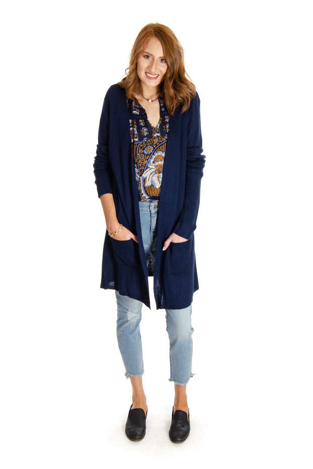 Joseph A. - Long Cardigan in Navy Yard (J2F31857NR)