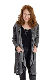 Joseph A. - Mixed Pattern Cardigan in Black/white (J2F5327D88)