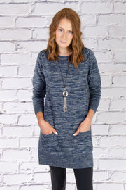 Crew Neck Tunic in Blue Combo