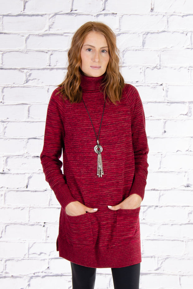 Turtleneck Tunic in Berry Combo