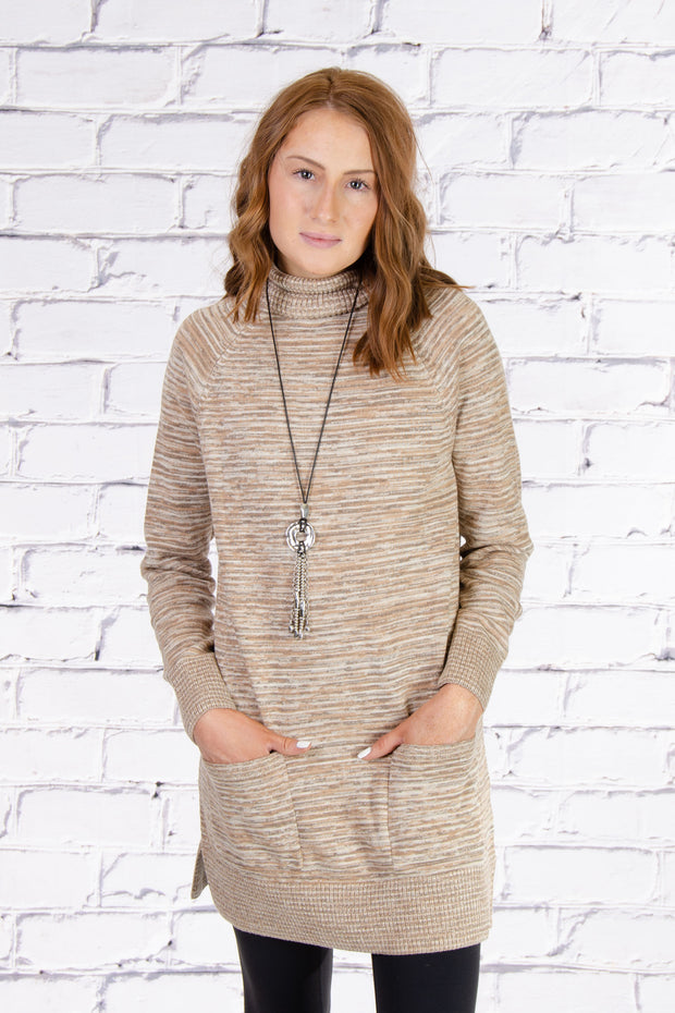 Turtleneck Tunic in Camel Combo