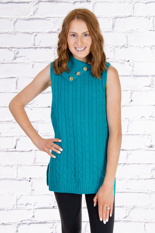 Sleeveless Cable Knit Sweater in Teal
