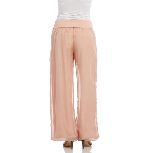 Kaktus - Silky/Knit Pants in Blush (93027)