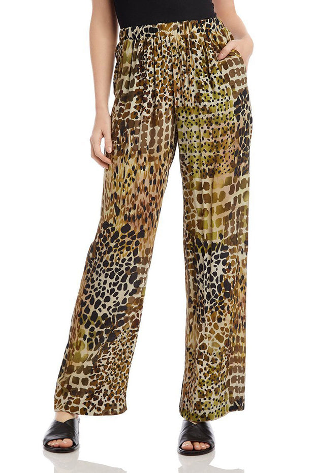 Karen Kane - Animal Print Pull-on Pants in Green/multi (1L16595)