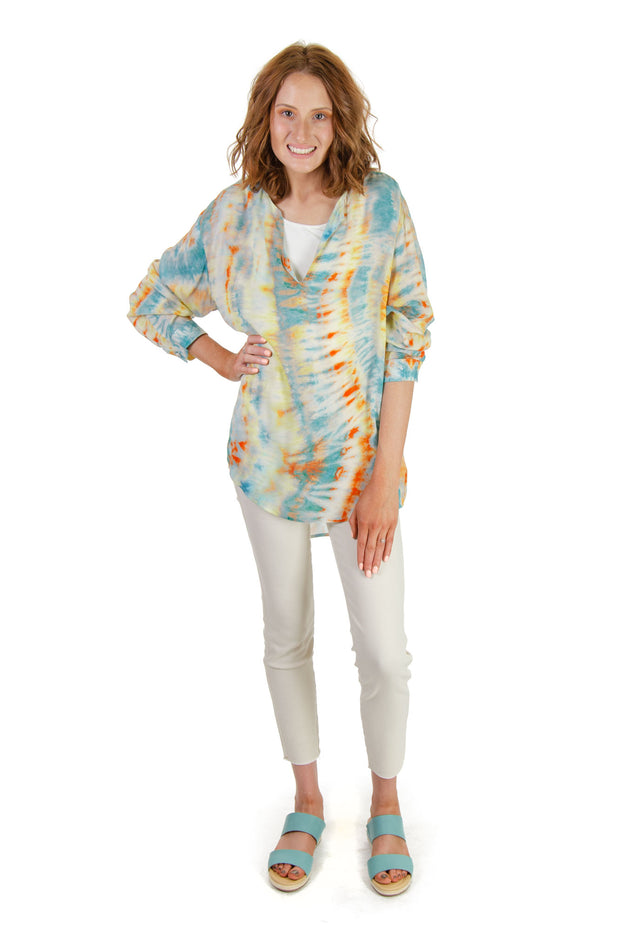 Karen Kane - Hi Lo Tie-dye Top in Blue/multi (1L76546)
