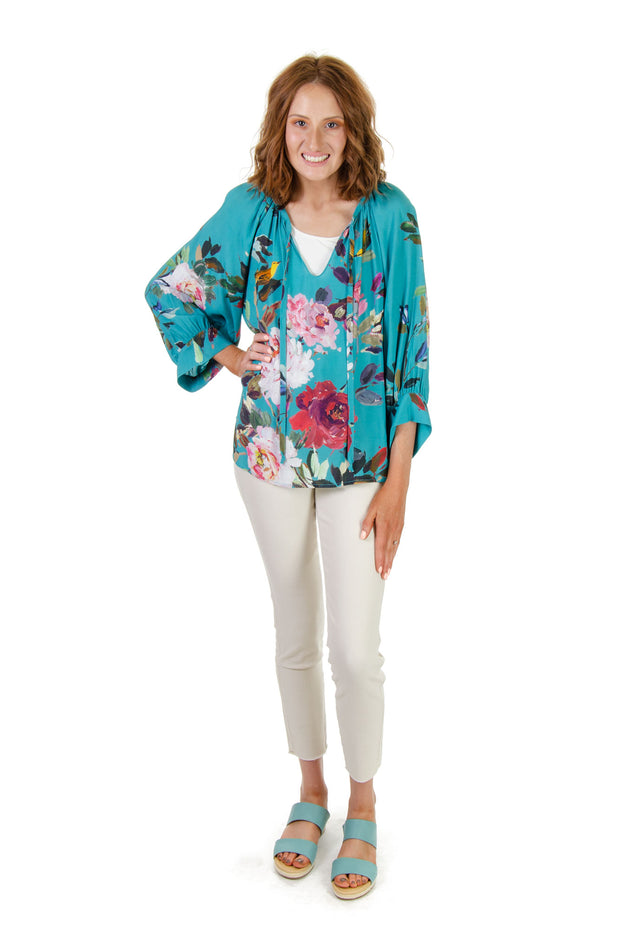 Karen Kane - Painted Floral Shirt in Turquoise (1L81098)