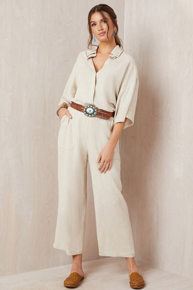Karen Kane - Cropped Wide-Leg Pants in Natural (L31209)