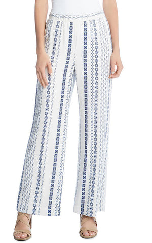 Karen Kane - Wide Leg Pants in White/blue (1L25569)