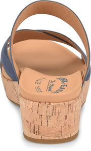 Kork-ease - Camellia Leather Wedge Sandal in Navy (Camellia)
