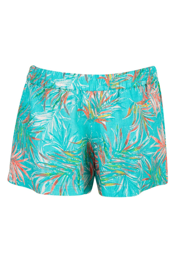 Floral Print Linen Short in Turquoise
