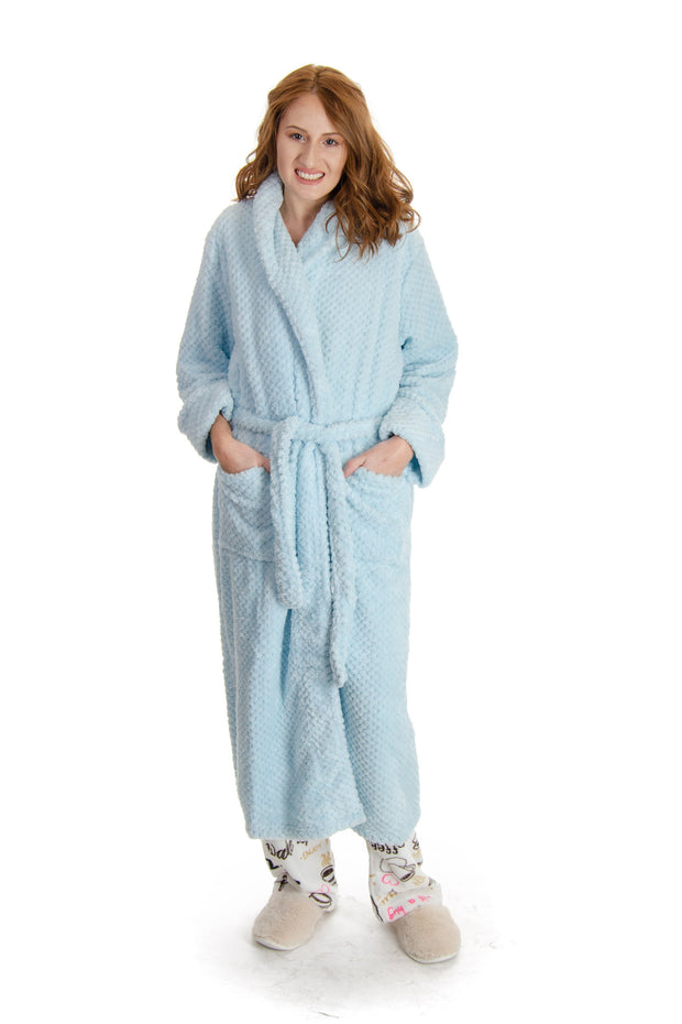 La Cera - Fleece Robe in Light Blue (8815)