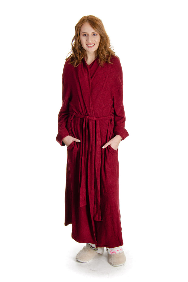 La Cera - Long Bath Robe in Red (8577)